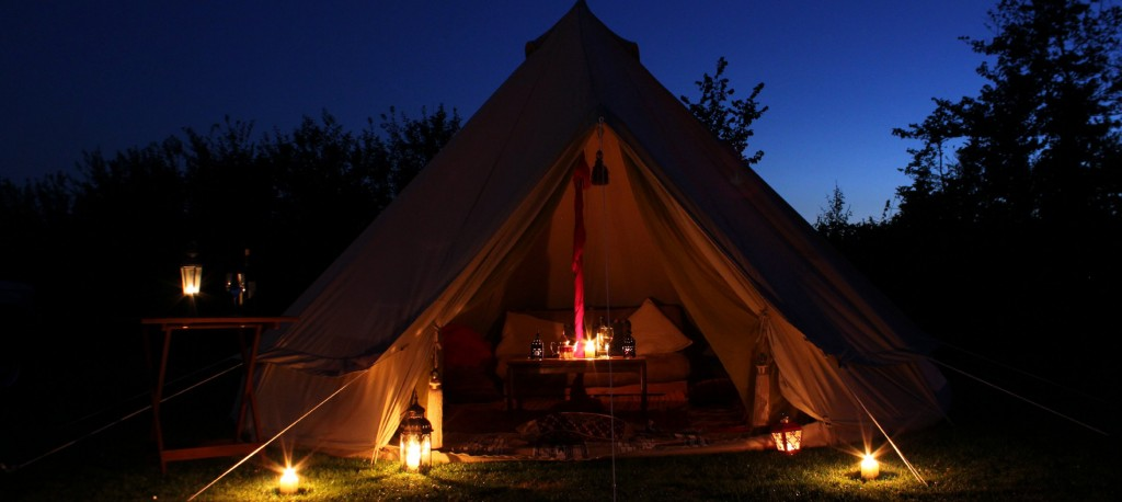 Bell tent with candles