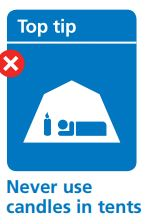 Never use candles in tents | Fire Safety | Lobb Fields caravan And Camping Park